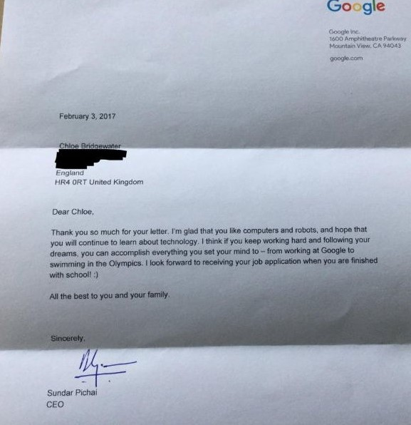 A 7 Year Old Girl Wrote A Letter To Google For A Job And Got An Amazing Reply From The CEO