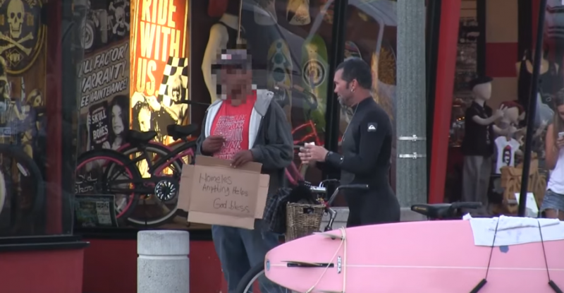Guys like these are the reason people have stopped trusting people! Fake Homeless man caught