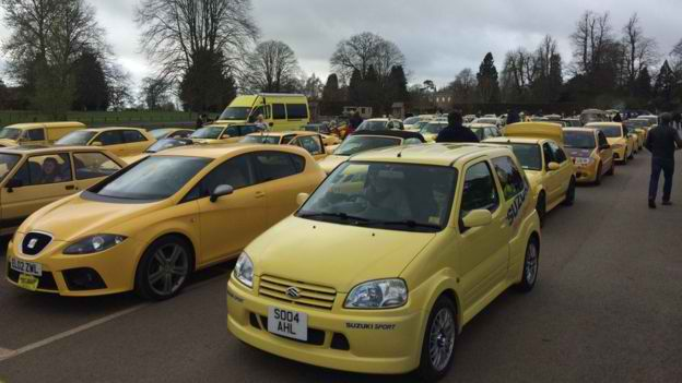 84 Year Old Man's Yellow Color Car Was Vandalized. Later On The Town People Organized A Rally For Yellow Cars!